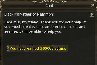 Good works reward 2st class transfer knowledge base lineage 2 many you did 1 mark 1 mil if you did all 3 like i did here you get it all back too bad its not the 300 mill you asked for malvernweather Gallery